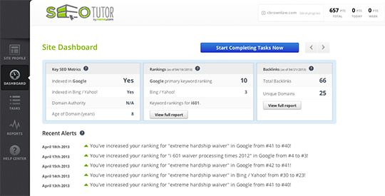 SEO Tutor's dashboard